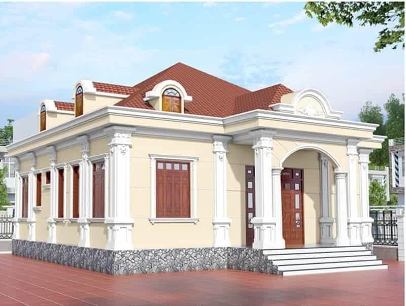 Nhà phố cấp 4 mái thái theo phong cách cổ điển