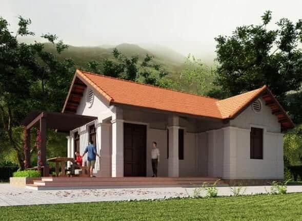 Nhà cấp 4 có sân vườn với lối thiết kế đơn giản, phù hợp lối sinh hoạt gia chủ