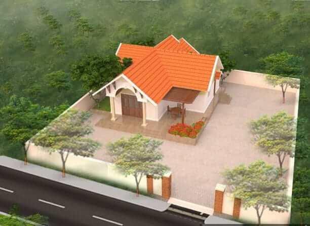 Phối cảnh nhà cấp 4 có cây và sân rộng bao quanh
