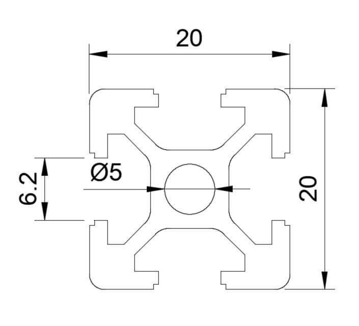 Nhôm thanh định hình có kích thước 20x20